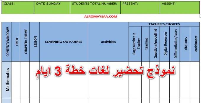 دفتر تحضير رياض اطفال لغات خطة 3 ايام