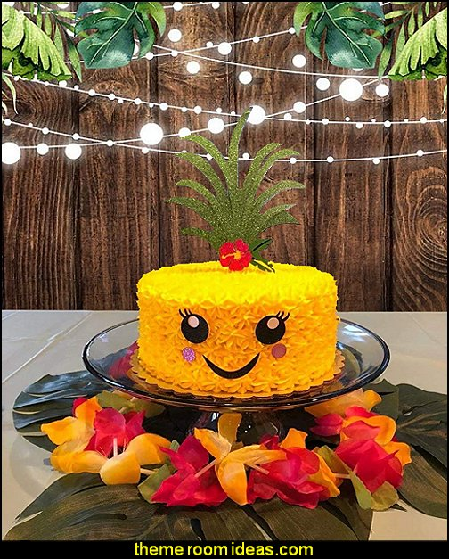 pineapple cake tropical party cake Rustic Wood Green Leaves Backdrop tropical party photo background