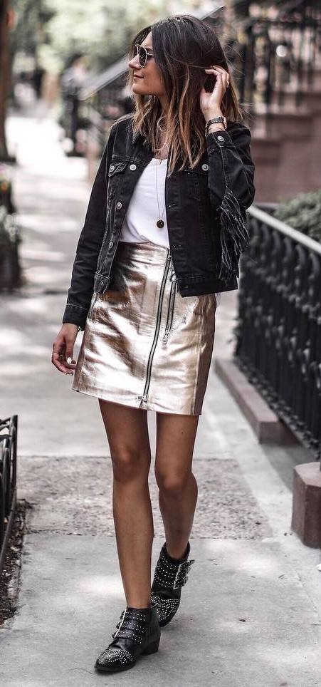how to style a golden skirt : denim jacket + white tee + boots