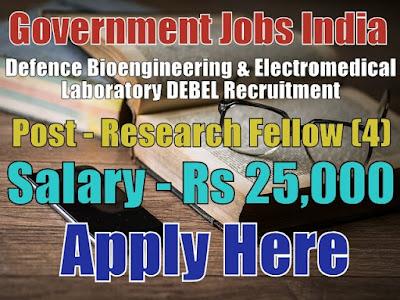 DEBEL Recruitment 2017 for Junior Research Fellow Posts