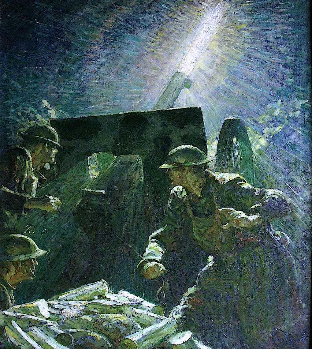 a Harvey Dunn color illustration of WW1 artillary fire