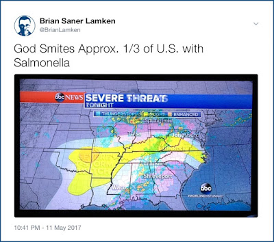 Twitter screenshot: image of ABC News weather map of the eastern United States with storm indications in orange, yellow, and white spread out resembling a runny cracked egg and the author's caption 'God Smites Approx. 1/3 of U.S. with Salmonella'