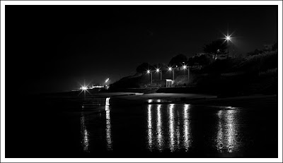 Clacton on Sea, Essex, photographer, night photography, black and white, beach, reflections,