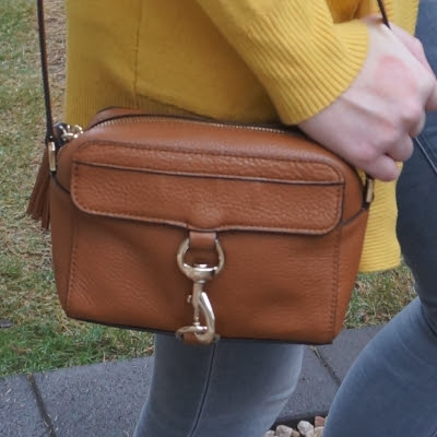 mustard cardigan, Rebecca Minkoff MAB Camera Bag in almond | away from the blue