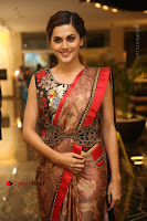 Tapsee Pannu Latest Stills in Red Silk Saree at Anando hma Pre Release Event .COM 0011.JPG