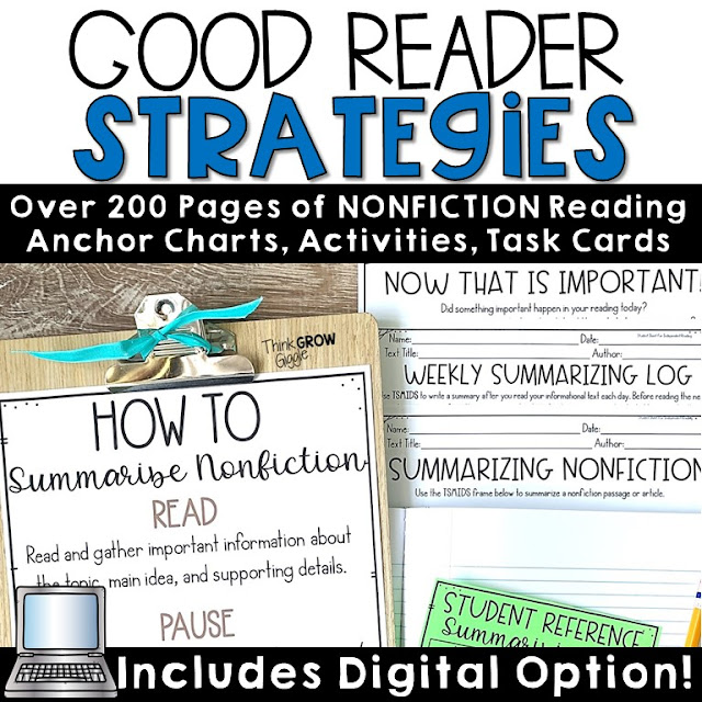 reading strategy activities for upper elementary