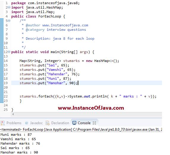 Java 8 foreach example program - InstanceOfJava