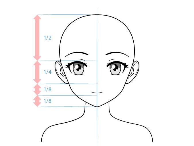 Karakter wanita anime menggambar wajah tersenyum