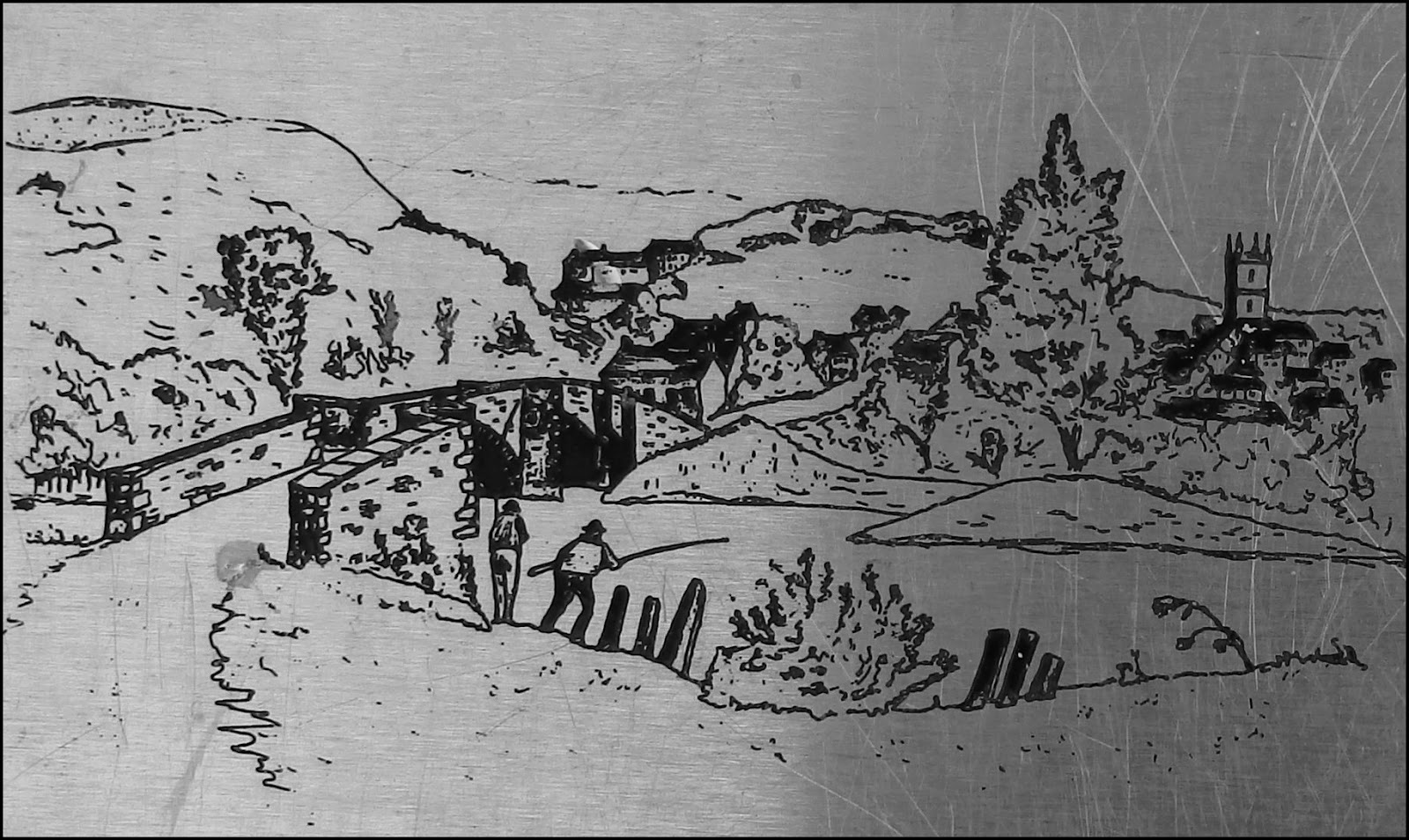 Old etching of St.Austell Bridge, Cornwall
