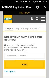 MTN SA Light Free 1GB Data for South African
