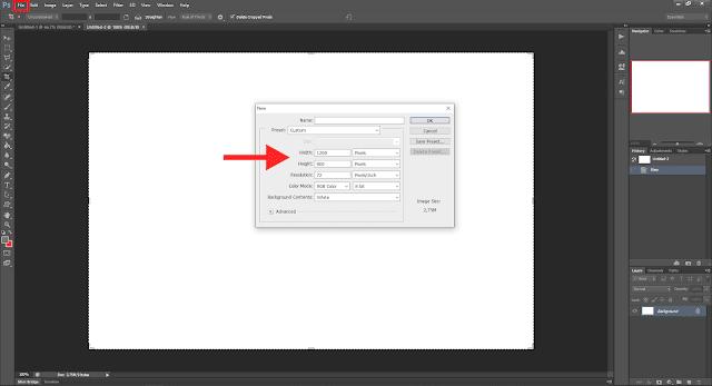 Cara Membuat Gambar Postingan Di Blogger Dengan Mudah - Cara Membuat File Baru di Photoshop