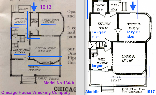 comparison, side by side, of Chicago House Wrecking Company No 134 vs Aladdin Charleston first floor