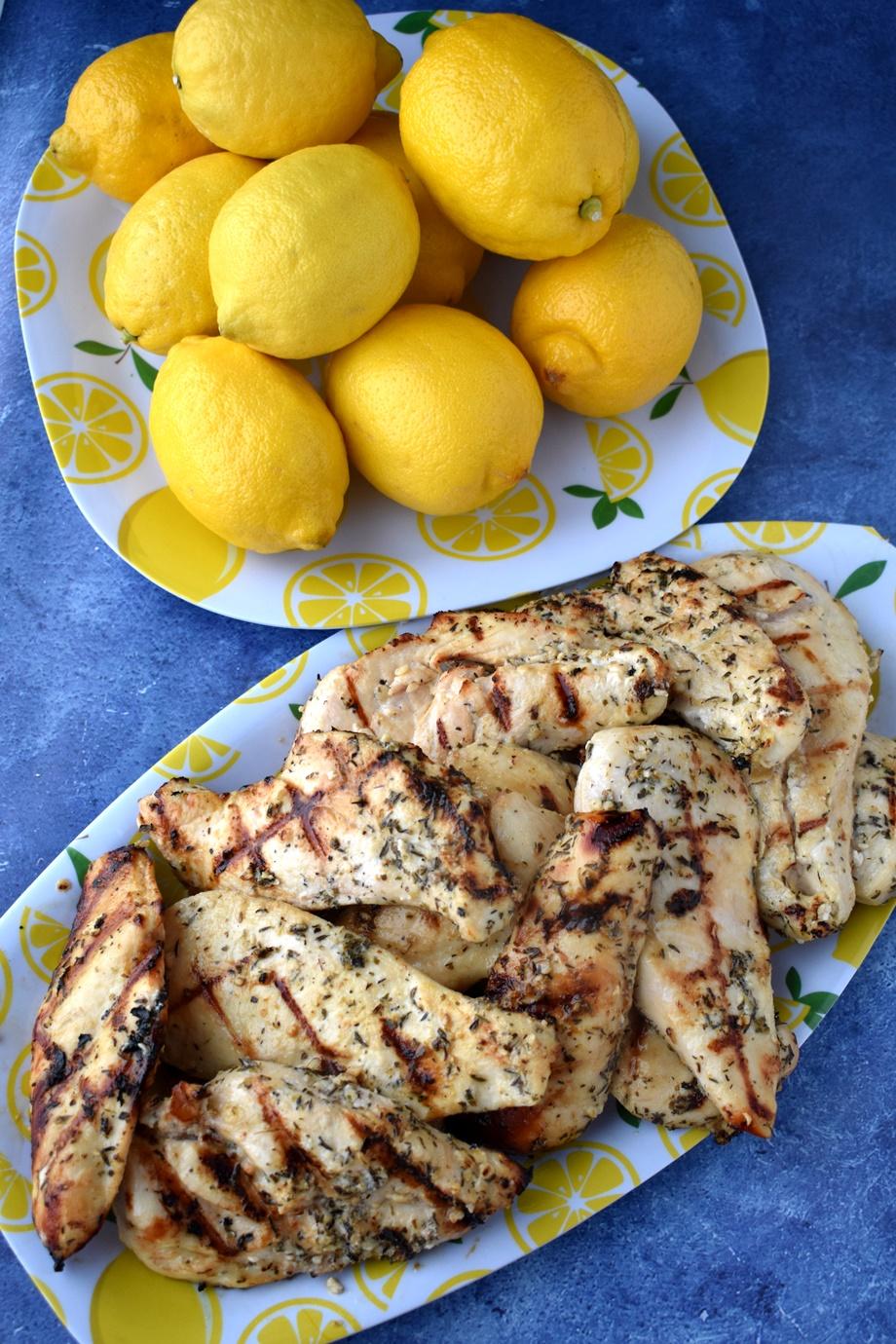 platter of grilled Greek chicken