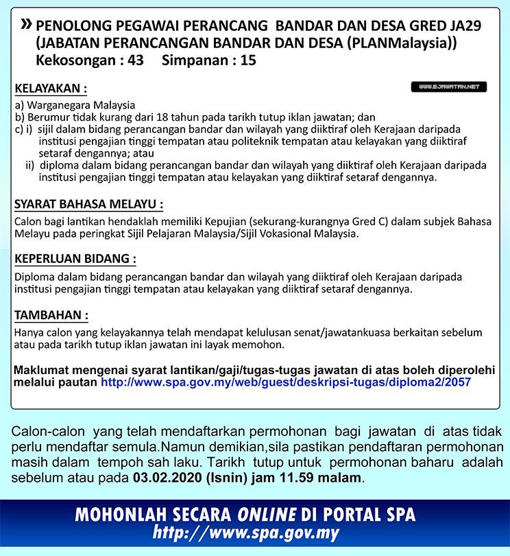 Jawatan Kosong Di Jabatan Perancang Bandar Dan Desa Planmalaysia 103 Kekosongan 03 Februari 2020 Jawatan Kosong Kerajaan Swasta Terkini Malaysia 2020 2021