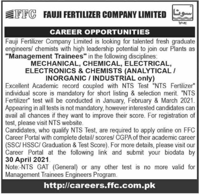 Fauji Fertilizer Company Limited FFC Jobs 2020 for Management Trainees for Mechanical, Chemical, Electrical, Electronics & Chemists (Analytical /Inorganic/Industrial)