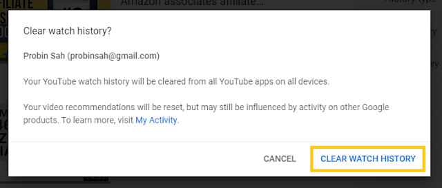 clear watch history of youtue