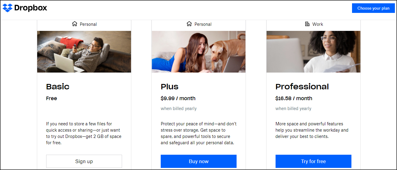 Dropbox pricing and plans for individuals
