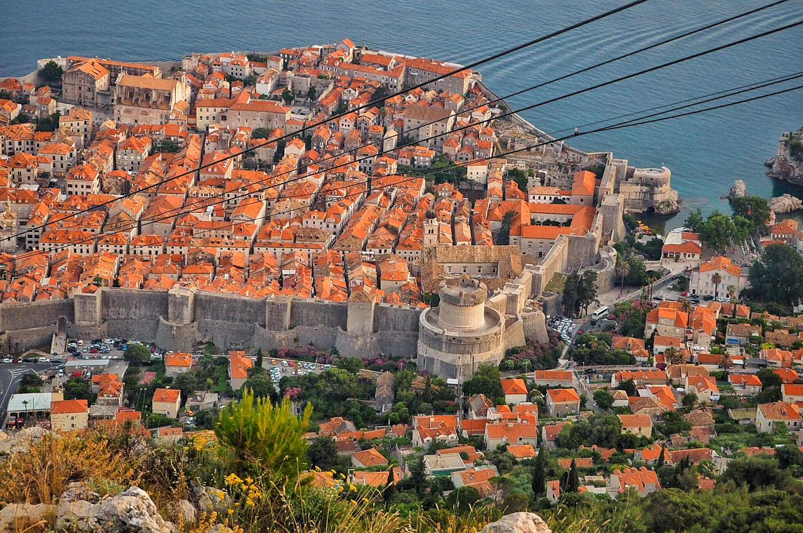 breathtaking views of the old city Dubrovnik from the cable car