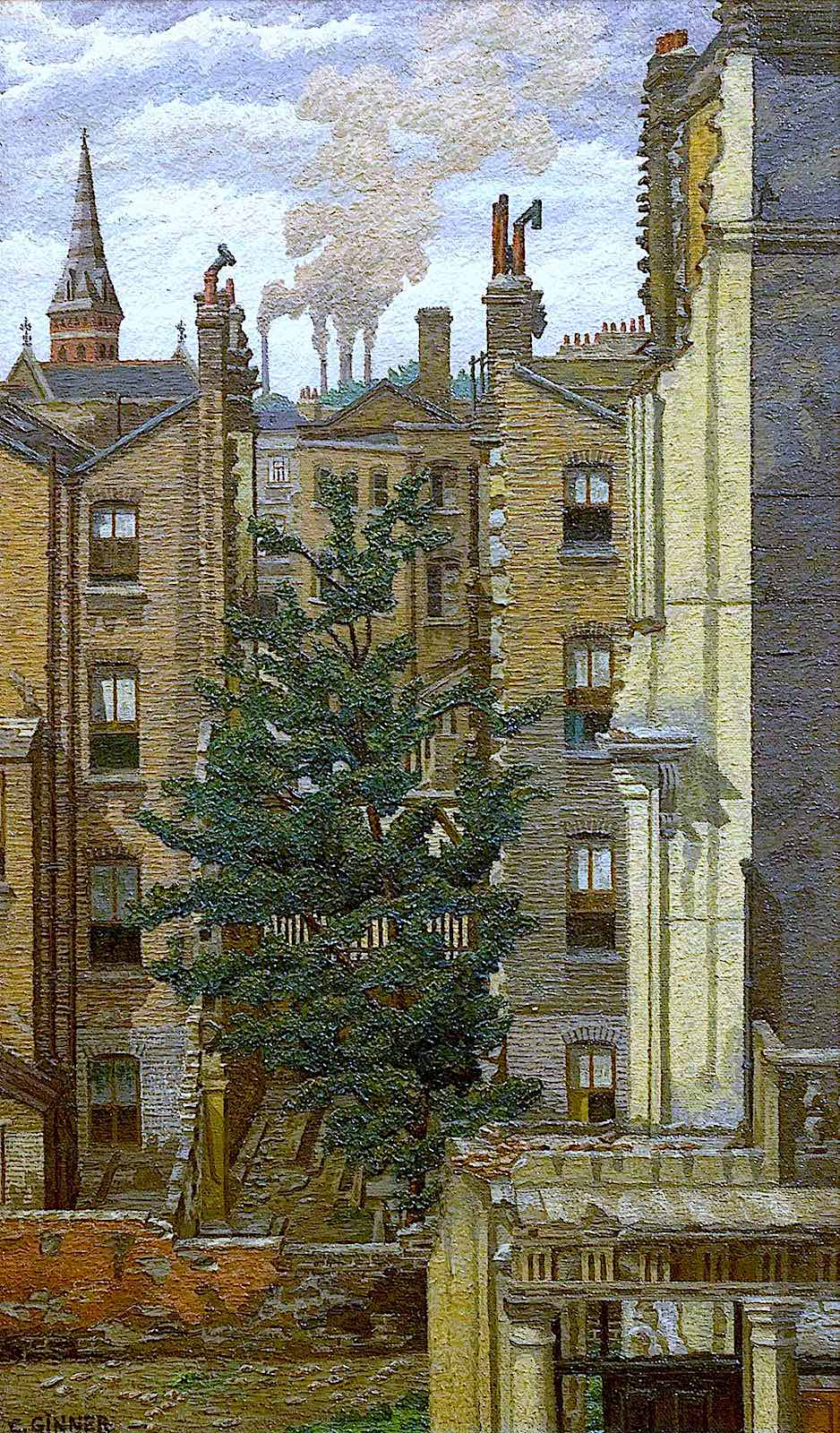 a 1942 Charles Ginner painting of a tree among brick buildings
