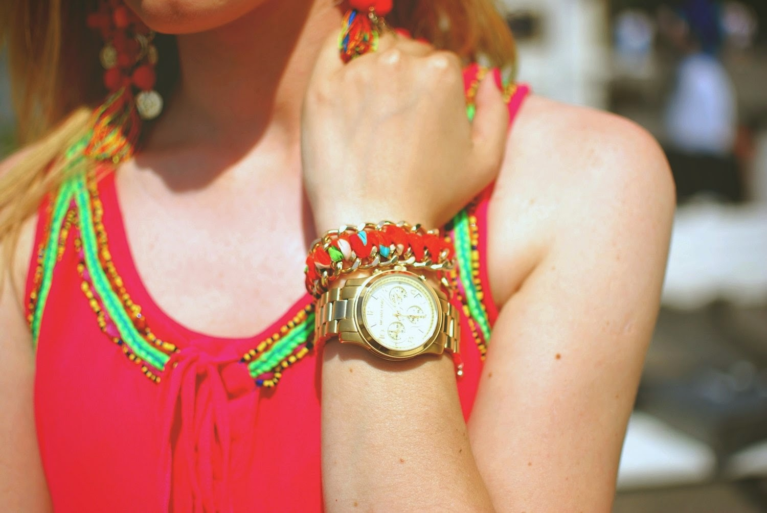 summer outfit, statement watch, summer dress, stretstyle, costa moda blog