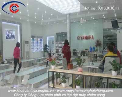 Hình ảnh bên trong cửa hàng xe máy Yamaha Town Phương Đông, Trần Nhân Tông, Kiến An, Hải Phòng.