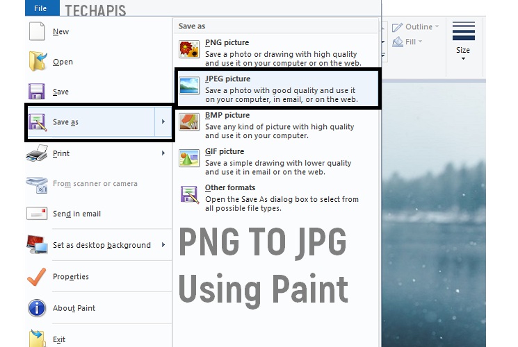 PNG to JPG using Paint