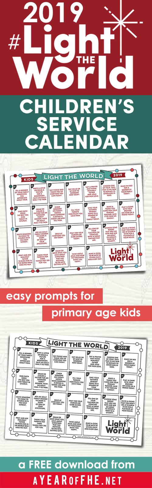 Lds Light The World 2021 Calendar A Year of FHE: LIGHT the WORLD 2019 Children's Service Calendar