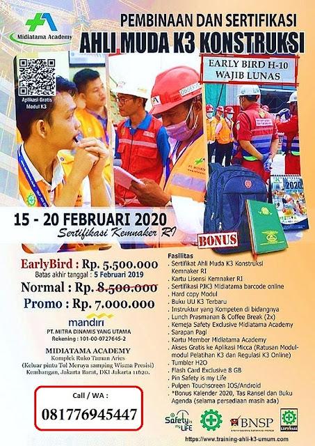 Ahli Muda K3 Konstruksi tgl.  15-20 Februari 2020 di Jakarta
