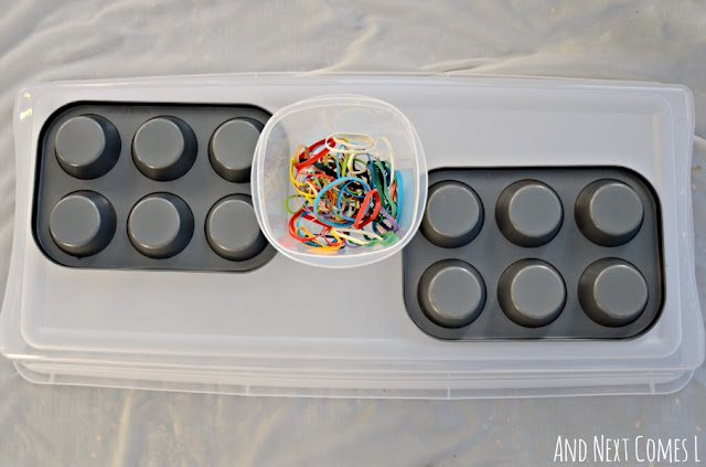 Fine motor activity for kids using muffin tins and rubber bands
