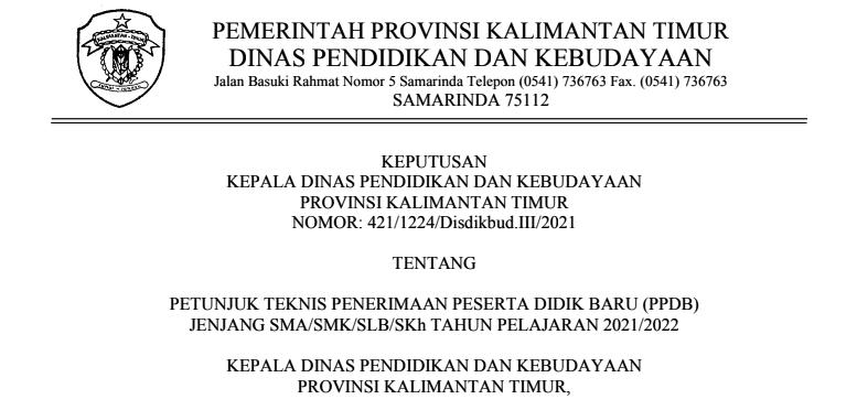 Petunjuk Teknis Juknis PPDB SMAN SMK Provinsi  Kalimantan Timur (Kaltim) Tahun Pelajaran 2021/2022