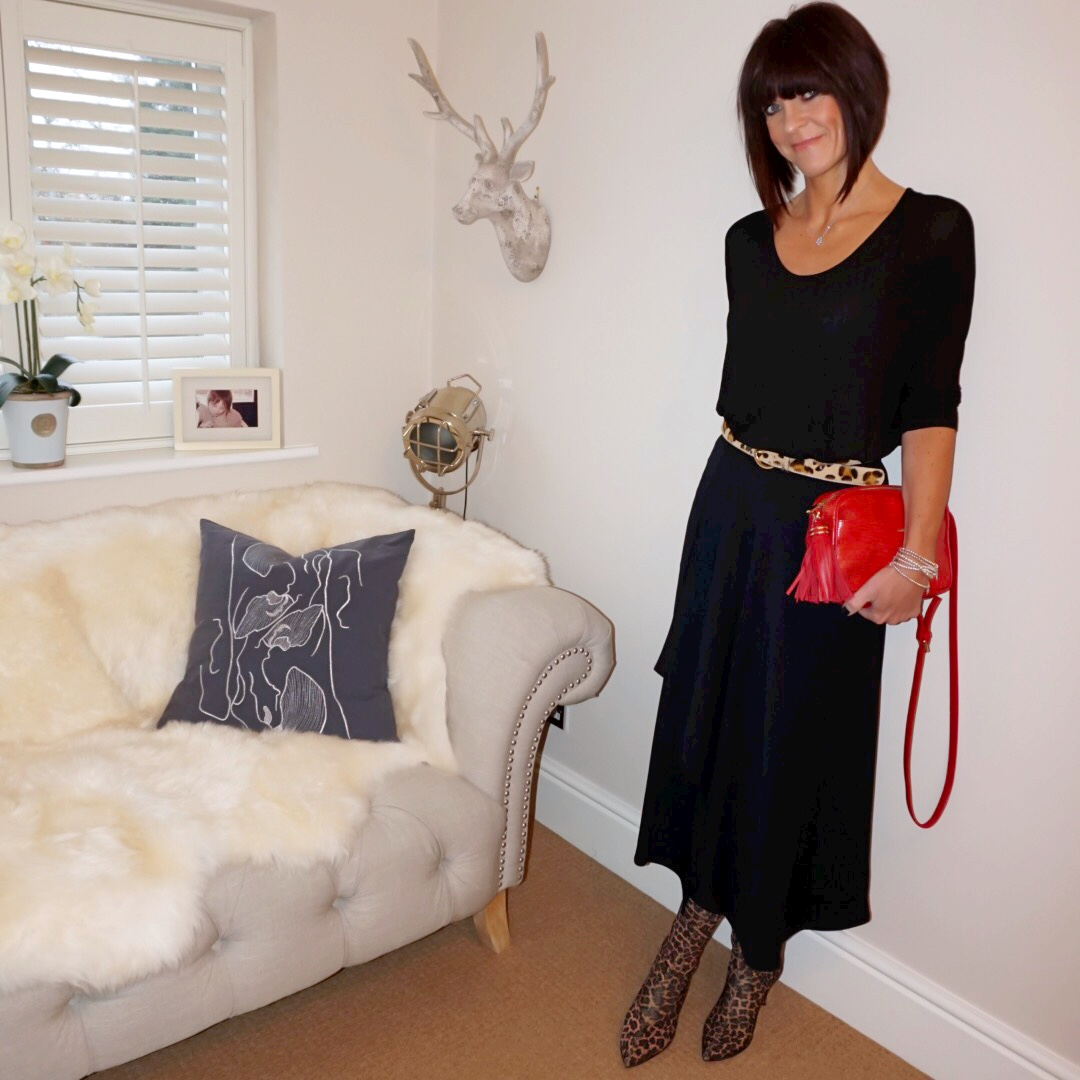 my midlife fashion, zara kitten heel sock leopard print ankle boot, uterque mock croc cross body bag, gray and osborne leopard print belt, marks and spencer asymmetric maxi skirt