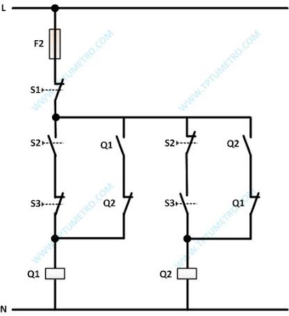 diagram kontrol dua motor listrik bekerja bergantian manual