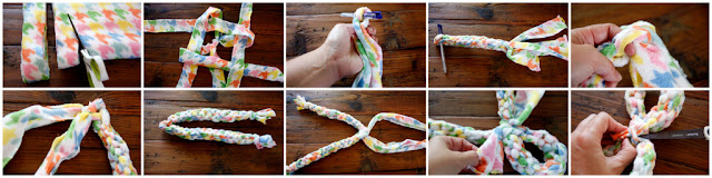 Step-by-step how to make a woven fleece loop and double tug dog toy