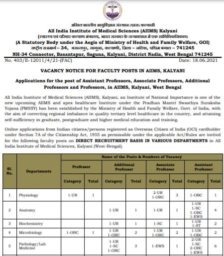 AIIMS Kalyani Faculty Recruitment 2021 Apply Offline