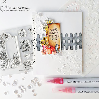 Fall Leaves and Pumpkins Please Card by Samantha Mann for Newton's Nook Designs, Stencil, Embossing Paste, Fall Card, Cards, Card Making, Leaves, Autumn