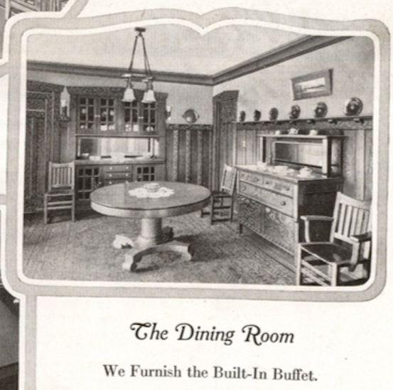 dining room image of Sears Ashmore, in the 1918 Sears Modern Homes catalog