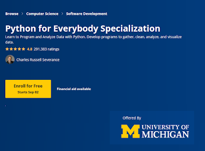 Python for Everybody from University of Michigan Review- Best Python Course on Coursera