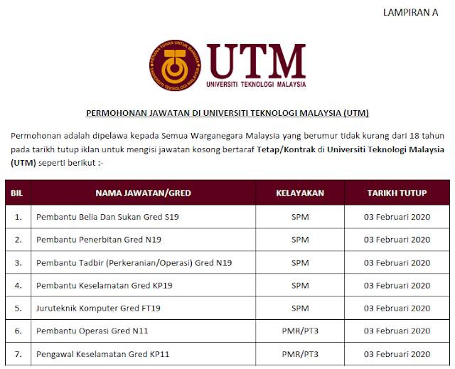 jawatan kosong universiti teknologi malaysia 2020