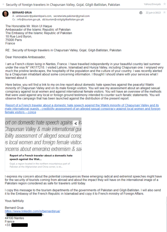 Rmala Aalam's false testimony: electronic letter to the ambassador of Pakistan