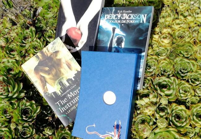 Fascination, Le Hobbit, The Mortal instruments et Percy Jackson sur un parterre de succulentes.