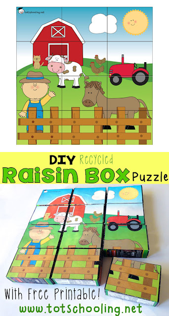DIY recycled farm puzzle for Earth Day made out of raisin boxes. Includes free printable puzzle.