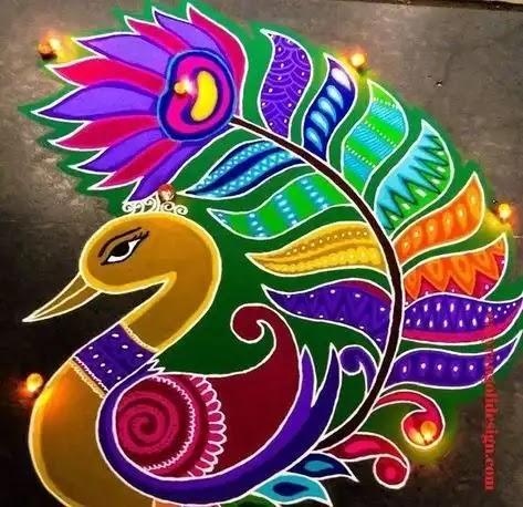new peacock rangoli design