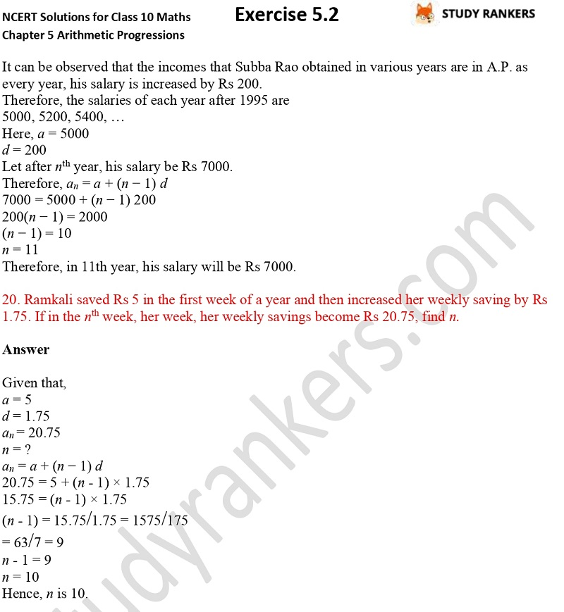 NCERT Solutions for Class 10 Maths Chapter 5 Arithmetic Progressions Exercise 5.2 Part 14