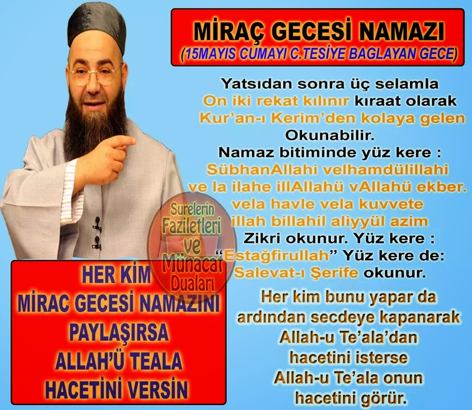 Cübbeli Ahmet Hoca Miraç gecesi Yapılacak ibadetler yazılı liste