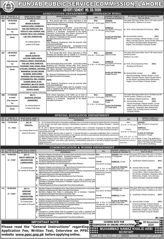 PPSC Jobs Advertisement No. 33/2020 Apply Online
