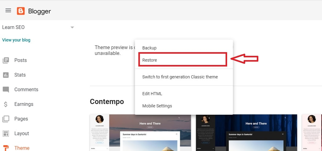 Upload the New Theme by click Restore option