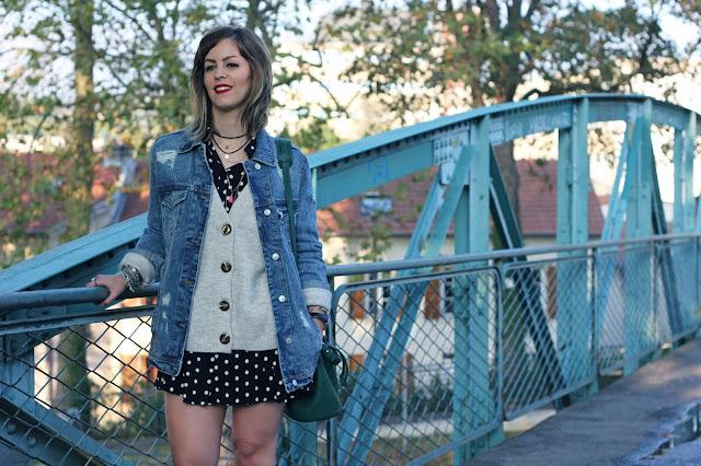 veste-jean-oversize-stradivarius-gilet-maille-zara-robe-pois-sac-seau-mango-look-mode-fashion-blog
