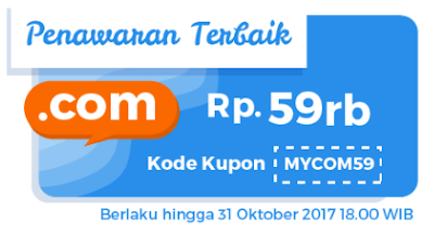 Promo Domain Murah 59 Ribu .COM Murah di Niagahoster Oktober - 30KBPS BLOG