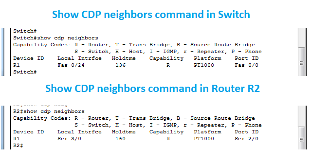 Router and Switch Cisco CDP Command result in Packet Tracer