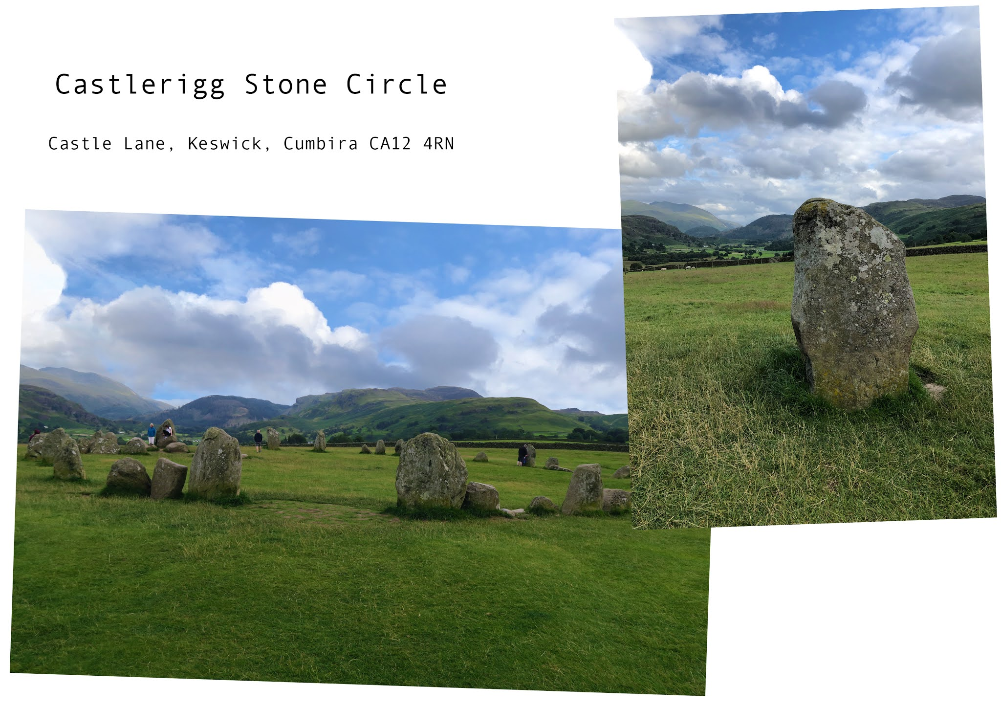 two images. the first image is a shot of the whole stone circle. the second image is a close up shot of one of the stones which is covered in a thin layer of moss. sweeping hills can be seen in the background of both images.